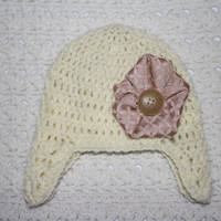 FLASH SALE Cyber Monday Ivory Flower Hat with Earflaps 0-3 mo Off white Pink Baby Shower Gift, Infant, Perfect Photo Prop