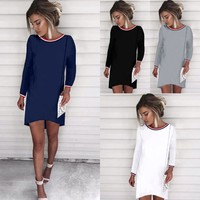 Winter Patchwork Long Sleeve Sexy Slim One Piece Dress [125758799898]