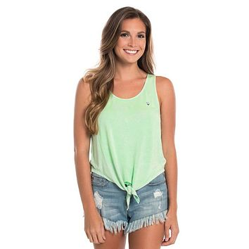 Ellie Tie Waist Tank in Lucite Green by The Southern Shirt Co..