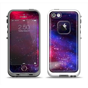 The Vivid Pink Galaxy Lights Apple iPhone 5-5s LifeProof Fre Case Skin Set