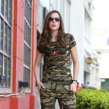 Tops and Tees T-Shirt Army Brand Summer T-Shirt Women Star Printing Military Camouflage Cotton T Shirts Female Camo  Tees Women's Clothing AT_60_4 AT_60_4