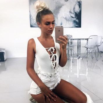 2017 Summer 95% Cotton Bodysuits Deep V-Neck Lace Up Sexy skinny jumpsuit playsuit overalls for women rompers