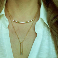 Curved Gold Bar Necklace / Sideway Bar Necklace / Minimal Jewelry / Simple and Layered Necklace / N141