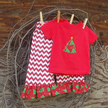 Girls Chevron ruffled pants, T shirt with Christmas Tree Applique, 6, 12, 18, 24 months 2 ,3, 4, 5, 6, 7, 8 girls , Holidays, Christmas