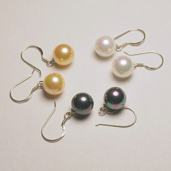 South Sea mother of pearl black, golden, or white dangles, freshwater pearl shell drops, .925 sterling silver fishhooks, South Sea pearls