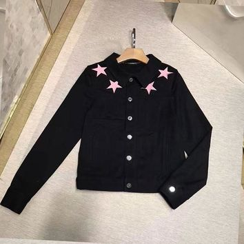 """Givenchy"" Women Simple Fashion Five-pointed Star Embroidery Long Sleeve Denim Cardigan Short Coat"