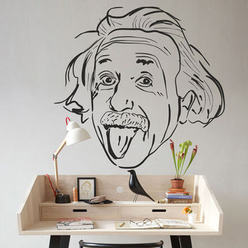 I185 Wall Decal Vinyl Sticker Art Decor Design Einstein genius physicist science workplace person people language apple Living Room Bedroom