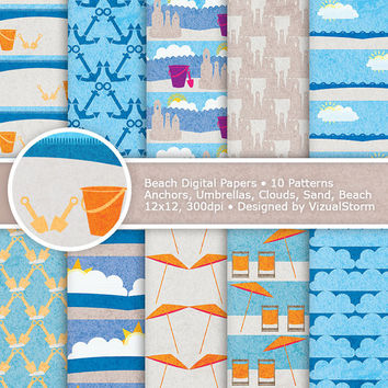 Beach Digital Paper, Printable Ocean and Sand Papers, orange, cream and blue nautical, umbrellas, clouds, shovel and pail, Buy 2 Get 1 Free