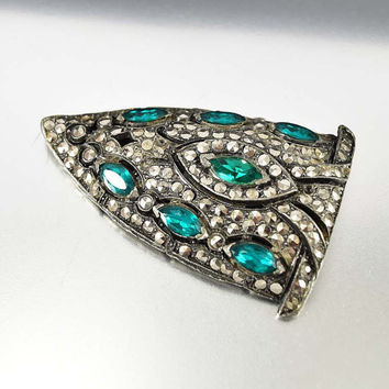 25% OFF Art Deco Brooch Dress Clip, Marcasite Brooch Fur Clip, Rhinestone Emerald Brooch Pin, Vintage 1930s Rhinestone Brooch
