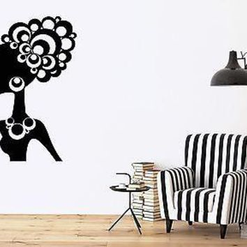 Wall Sticker Vinyl Decal Beautiful Woman Ethnic Hair Jewelry Ornaments Unique Gift (n047)