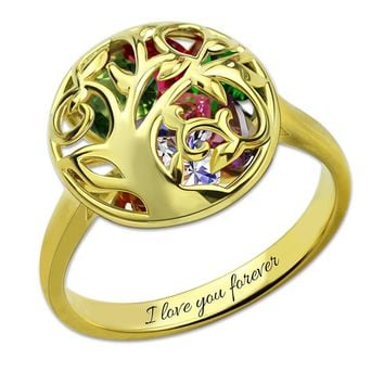 Heart Birthstone Cage Ring Custom Family Tree Ring Gold Color Ring For Mom