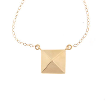 14k Gold Pyramid Necklace - Square Pendant, Celebrity Style, 14k Solid Yellow Gold