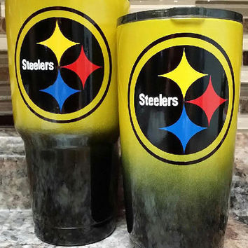 PC Steelers ombre Stainless Steel Tumbler/Ozark/RTIC/Steelers stainless steel tumbler/Xmas gift/Xmas present/RTIC tumbler/ombre tumbler