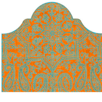 Wall Decal Headboard - Boho Dreams - Round Top - Orange with Turquoise - Twin - Lite version Headboard