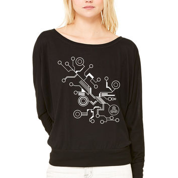 Circuit HD VECTOR WOMEN'S FLOWY LONG SLEEVE OFF SHOULDER TEE