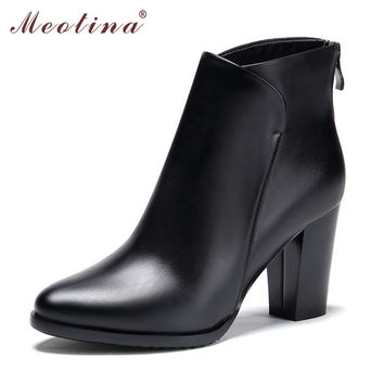 Meotina New Genuine Leather Shoes Women Ankle Boots Thick High Heel Martin Boots Zip Full Grain Leather Ladies Work Shoes Black