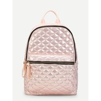 Pink Pocket Front Quilted Pu Backpack