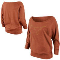 Nike Texas Longhorns Ladies Lazy Day Boatneck Sweatshirt - Burnt Orange