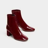 HIGH HEEL FAUX PATENT ANKLE BOOTS