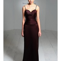 Chic Satin Spaghetti Straps Sweetheart A-Line Bridesmaid Dress With A Crossover Gathered Bodice And Hand-Pleated Body SB2169