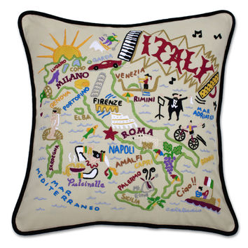 Italy Hand Embroidered Pillow