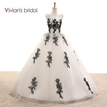 Black And White Wedding Dress Ball Gown Sleeveless Sequin Tulle Lace Wedding Gown Floor Length