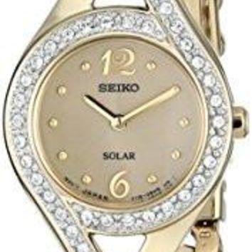 Seiko Women's Solar Watch SUP176 Swarovski Crystal-Accented Stainless Steel Solar Watch