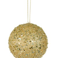 """Fancy Gold Holographic Glitter Drenched Christmas Ball Ornament 4"""" (100mm)"""