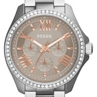 Women's Fossil 'Cecile' Multifunction Bracelet Watch, 40mm - Silver/ Taupe