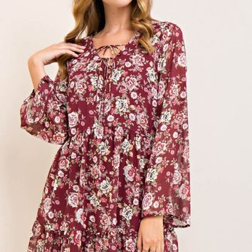 Floral Long Sleeve Babydoll Dress