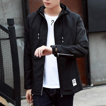 The spring of 2017 the new leisure jacket han edition cultivate one's morality even cap pure color youth big yards men's coat