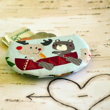 Moose and bear coin purse, change purse, pouch, coin bag, mini wallet, purse, pocket pouch, summer camp, change wallet, stocking stuffers