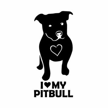 I LOVE MY PITBULL Vinyl Window Decal