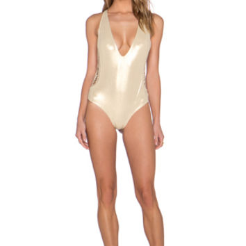 Pagoda One Piece Swimsuit in Metallic