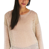 Blush and Gold Detail Sweater