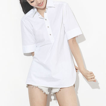 White or Black Crystal Button Blouse