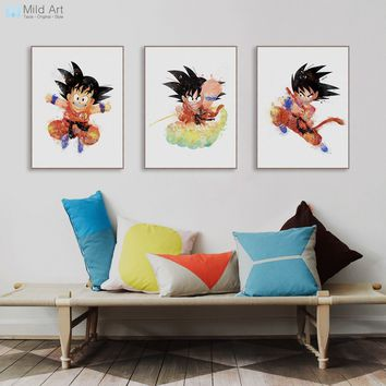 Watercolor Japanese Cartoon Anime Dragon Ball Goku Poster Nordic Kids Room Wall Art Picture Home Decor Canvas Paintings Custom
