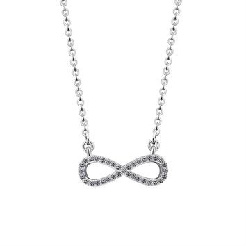 Classic Clear CZ Love Infinity Necklace Small Lucky Number 8 Symbol Pendant Eternity Promise Necklace For Lover Women Daily Life