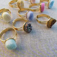 Rock Crystal Drusy Rings - Adjustable Gold Plated - Choose Your Color