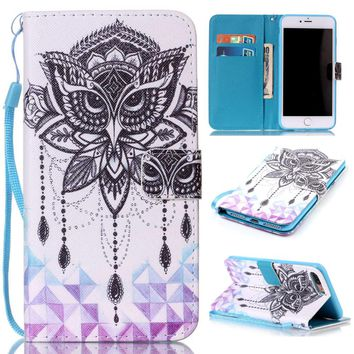 "Flower / Dream Catcher Pattern Leather Stand Pouch Wallet Flip Shell Cover Case For Apple iPhone 7 Plus 5.5"" Coque Funda Capa"
