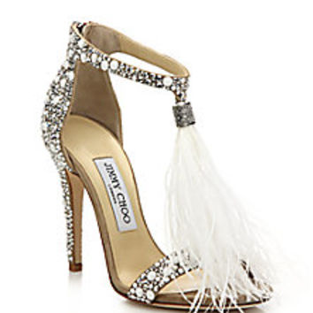 Jimmy Choo - Viola 110 Embellished Suede Feather Tassel Sandals - Saks Fifth Avenue Mobile