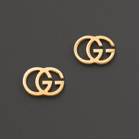 Gucci 18K Yellow Gold Running G Stud Earrings