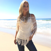 Sunburst Crochet Top In Ivory