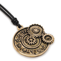 Steam Punk Clock Gear Handmade Brass Necklace Pendant Jewelry