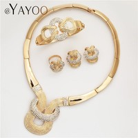 AYAYOO Jewelry Sets For Women Nigerian Necklace African Beads Jewelry Set In Gold Color Wedding Luxury Dubai Jewelry Sets