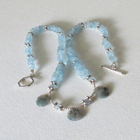 Necklace with Aquamarine,  Agate and Sterling Silver Hand Beaded, Statteam