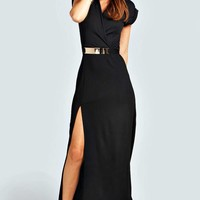 Leanne Crepe Belted Front Split Maxi Dress