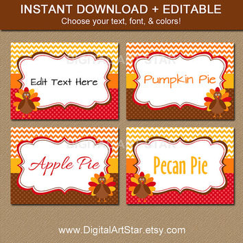 Turkey Labels - Printable Thanksgiving Food Tags - EDITABLE Chevron Thanksgiving Buffet Cards, Candy Labels, Place Cards - INSTANT