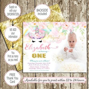Photo Unicorn Birthday Invitations Printable, Pink Gold Magical Unicorn Party Invitation with photo, Unicorn birthday invitation with picure