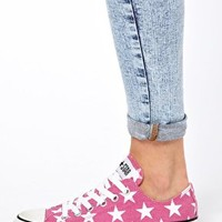 Converse All Star Pink Star Print Ox  Trainers at asos.com